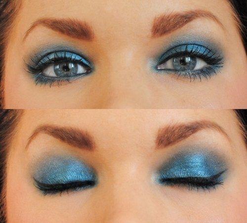 Макияж к синему платью для брюнетки